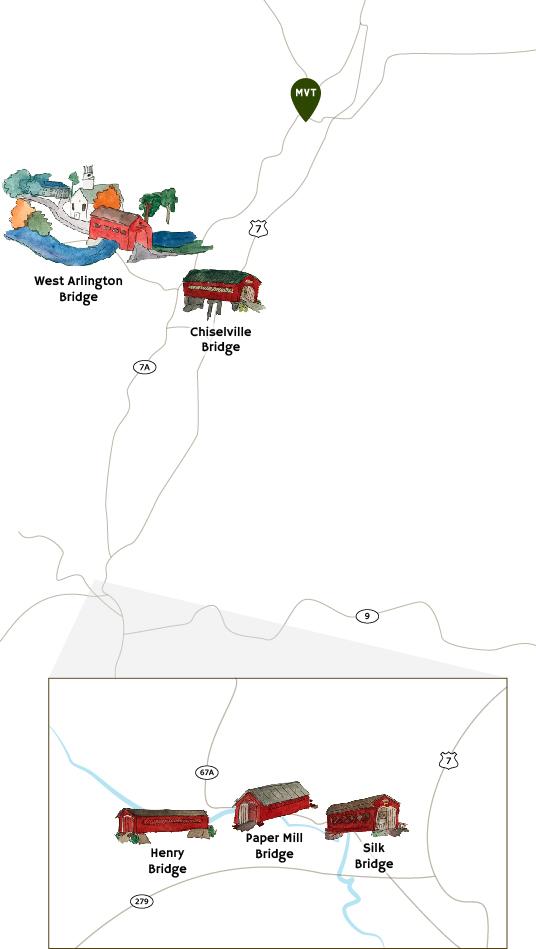 Covered Bridges Map in Bennington County Vermont