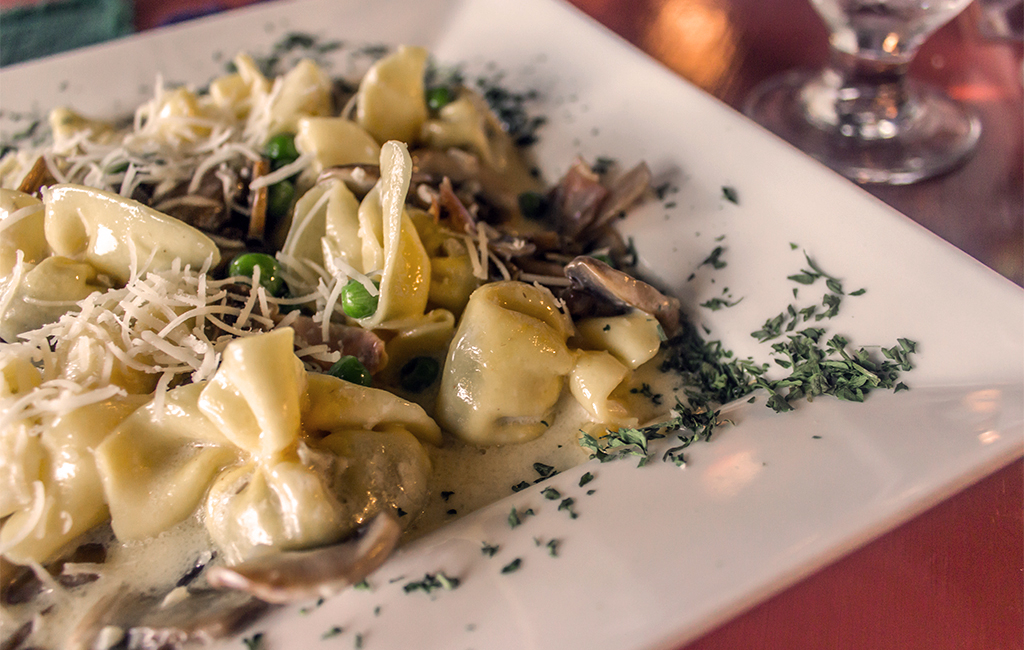 handcrafted pasta purses with wild mushrooms