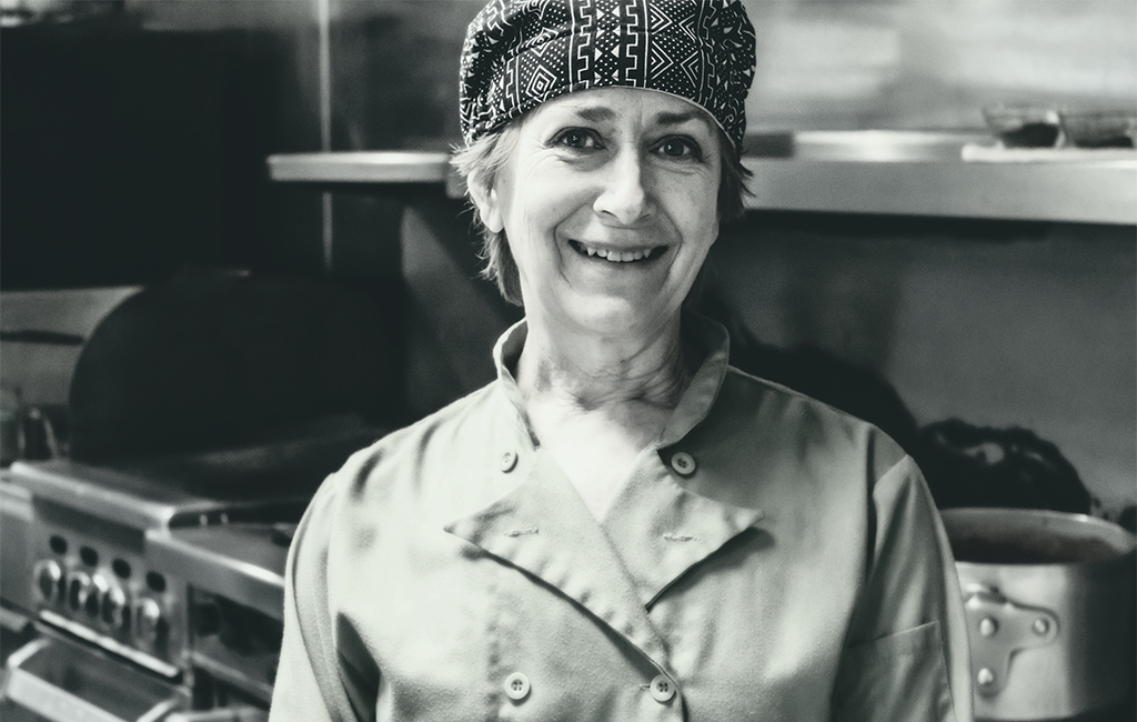 Chef Sue Anagnos in the kitchen at Garlic John's